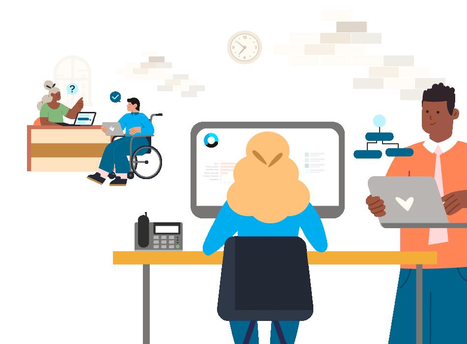 Office scene graphic for Orbita webpage