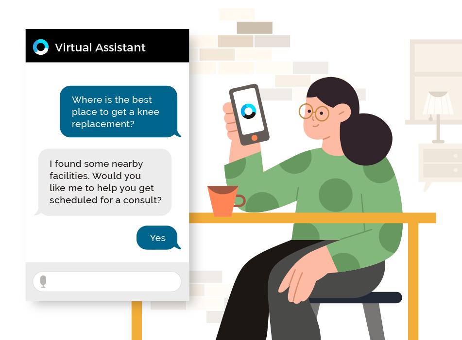 OrbitaENGAGE webpage featuring a image of a chat bubble and a woman with black hair, green shirt, sitting at a desk with smart phone