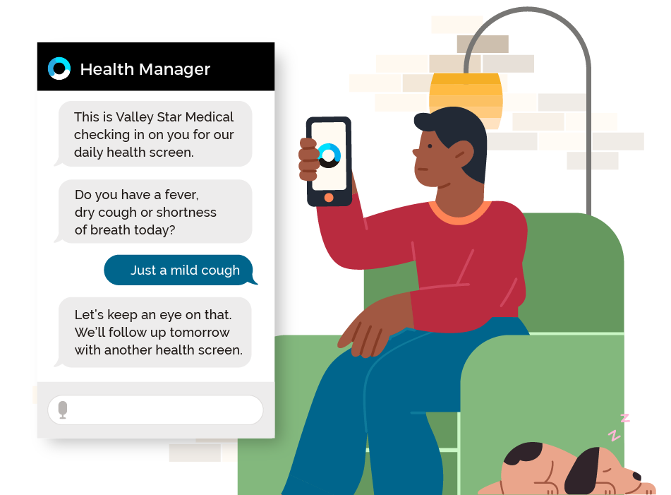 Orbita for Employee Health Manager webpage featuring image of chat bubble and man with black hair and a red shirt, sitting on a green chair, and holding a smart phone