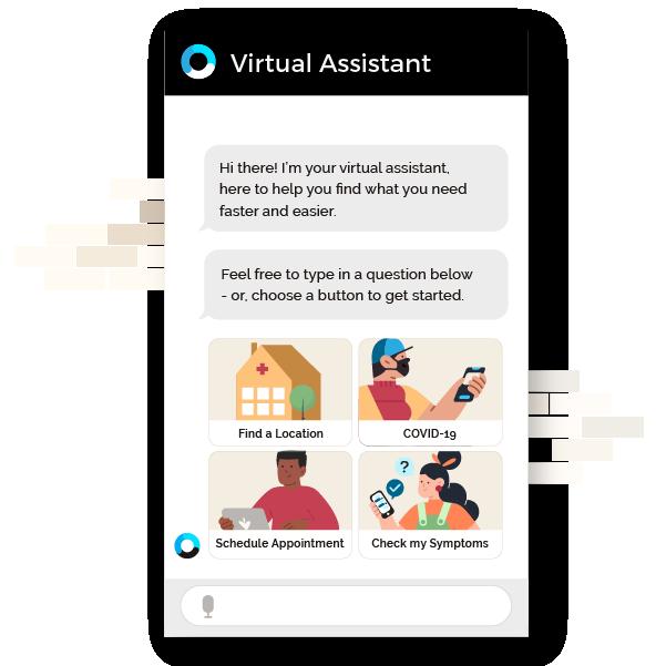 OrbitaENGAGE webpage featuring image of care navigation chatbot
