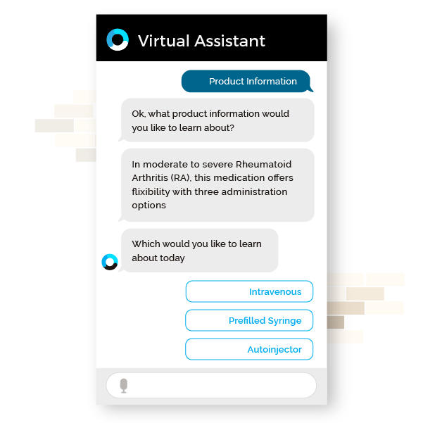 Orbita for Life Sciences - HCP Support webpage featuring virtual assistant chat bubble graphic 2