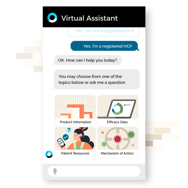Orbita for Life Sciences - HCP Support webpage featuring virtual assistant chat bubble graphic 1