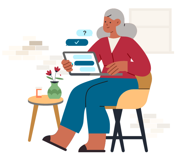 Orbita for Life Sciences - Patient Support webpage featuring image of woman with gray hair, red sweater, sitting on yellow chair, and holding laptop