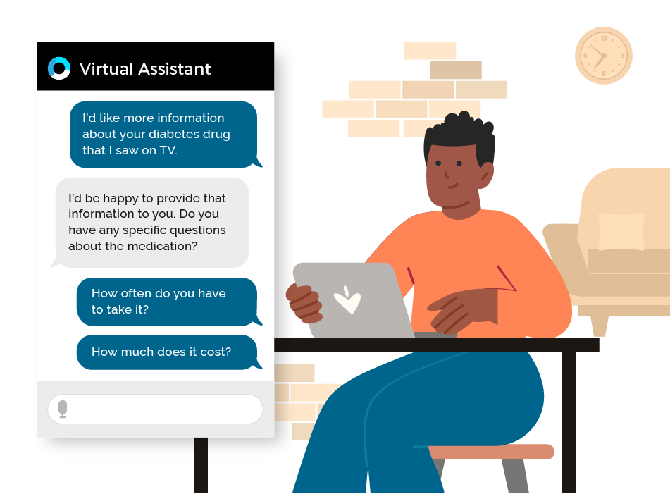 Orbita for Life Sciences - Patient Support webpage featuring image of man with black hair, orange shirt, sitting at desk with laptop